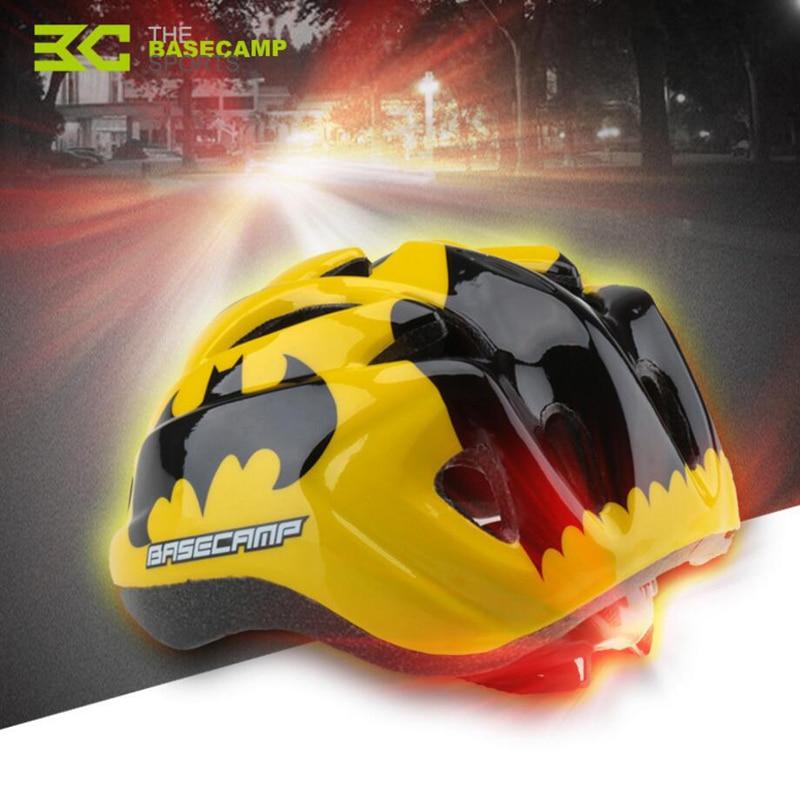 BASECAMP Sykkelhjelm LED Sykkelhjelm Barn Sykkelhjelmer Barnesikringshjelmer Pustende MTB Road Bike Head Protector