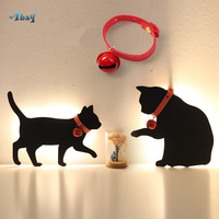 Creative Voice Silhouette Night Lights Mickey Than Kaqiu Dog Cat Shape Lamp for Children Bedroom Bedside College Dorm Kids Led