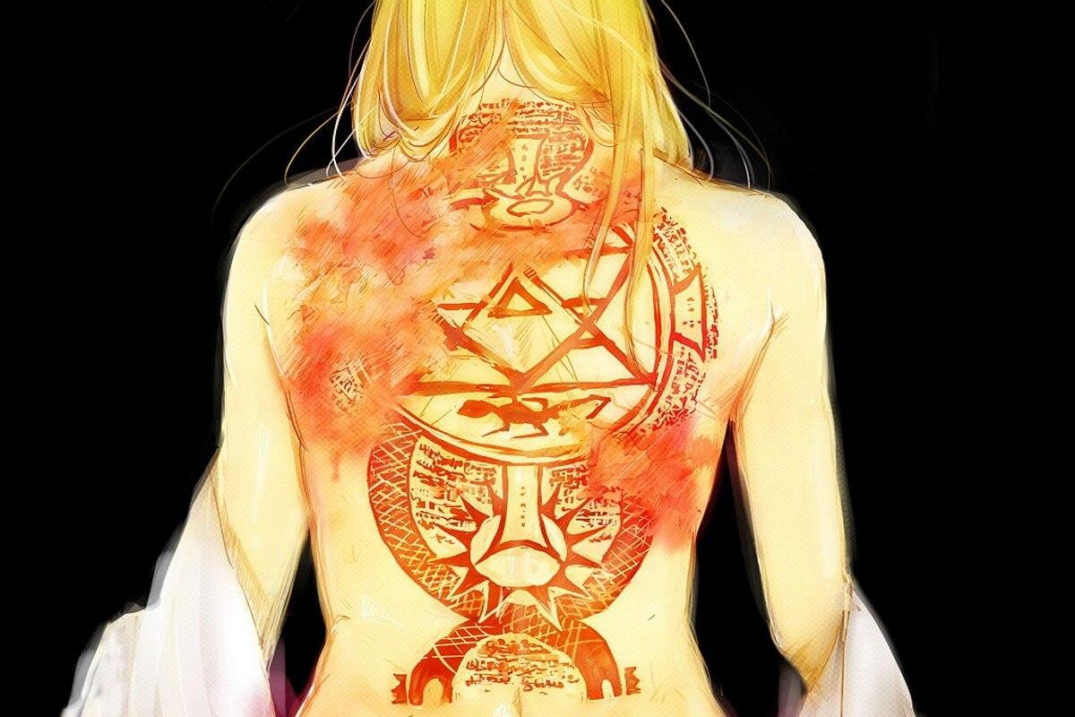 Full metal Alchemist Riza Hawkeye tattoo DM451 canvas fabric poster ...