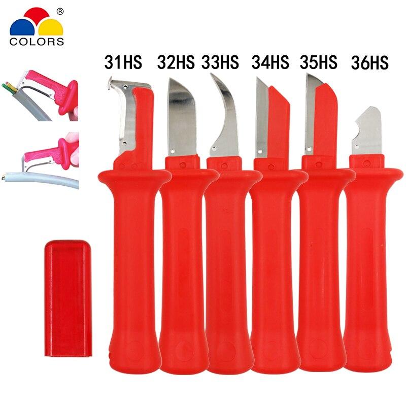 COULEURS 6 sortes câble décapant couteau allemand style 440c lame pvc poignée Décapage la portée de diamètre de 50mm ci-dessous outils à main
