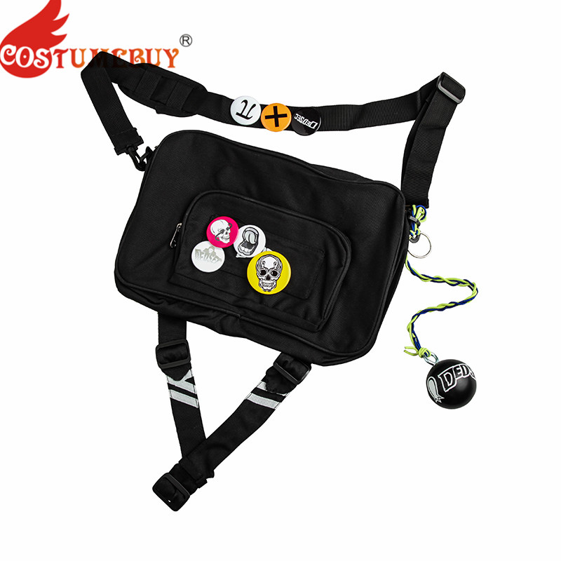 Costumebuy Game Watch Dogs 2 Marcus Holloway Cosplay Shoulder Bag + Badges Ball Adult Watch Dog Cosplay Costume Accessories