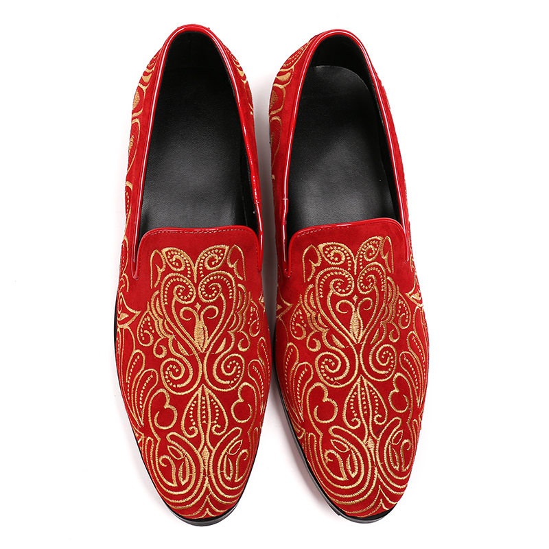 Christia Bella Embroidered Gold Floral Design Men Velvet Shoes Fashion Men  Smoking Slippers Male Wedding and Party Loafers-in Formal Shoes from Shoes  on ... 95c1e309c0a2