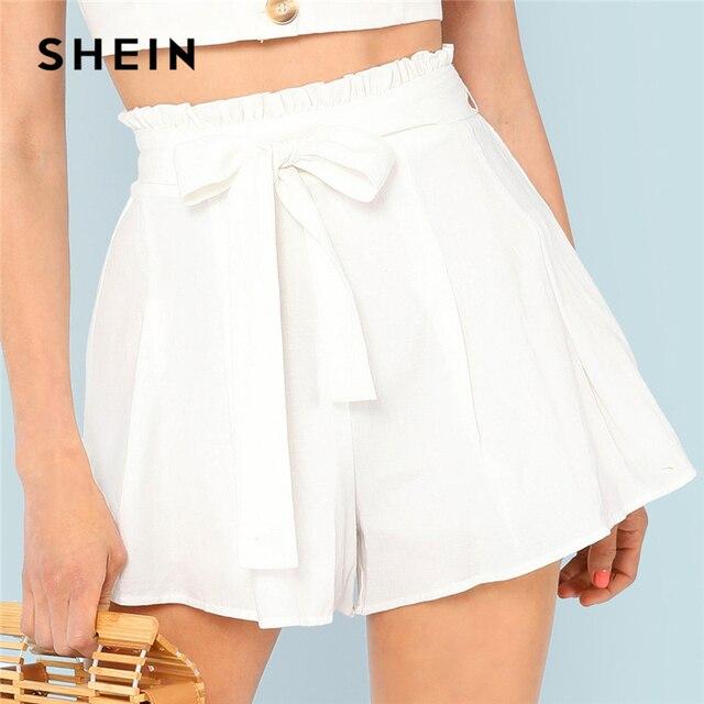439e5bd938 SHEIN White Vacation Boho Bohemian Beach Frill Waist Boxed Pleated Mid  Waist Belted Shorts Summer Women Casual Shorts