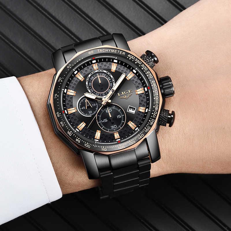Reloj Masculino LIGE nuevo cronógrafo deportivo para hombre reloj de cuarzo de lujo de primera marca reloj de cuarzo de acero resistente al agua reloj de gran esfera para hombre