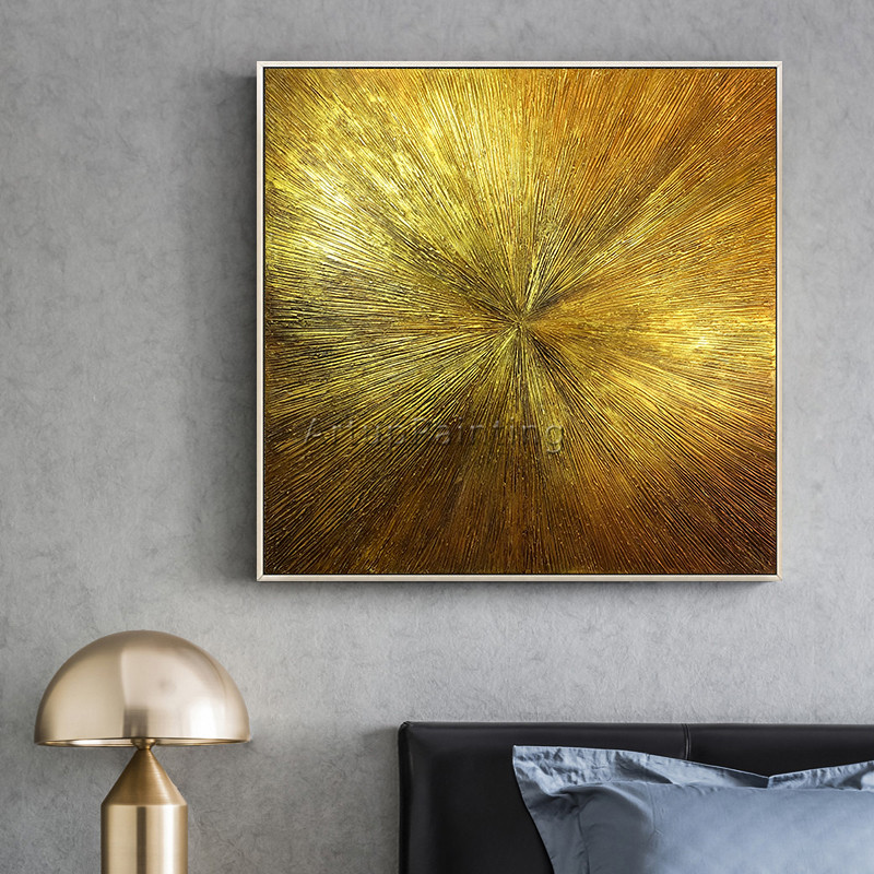 Geometric Gold art abstract painting on canvas acrylic texture wall art pictures for living room home quadros caudros decoracion in Painting Calligraphy from Home Garden