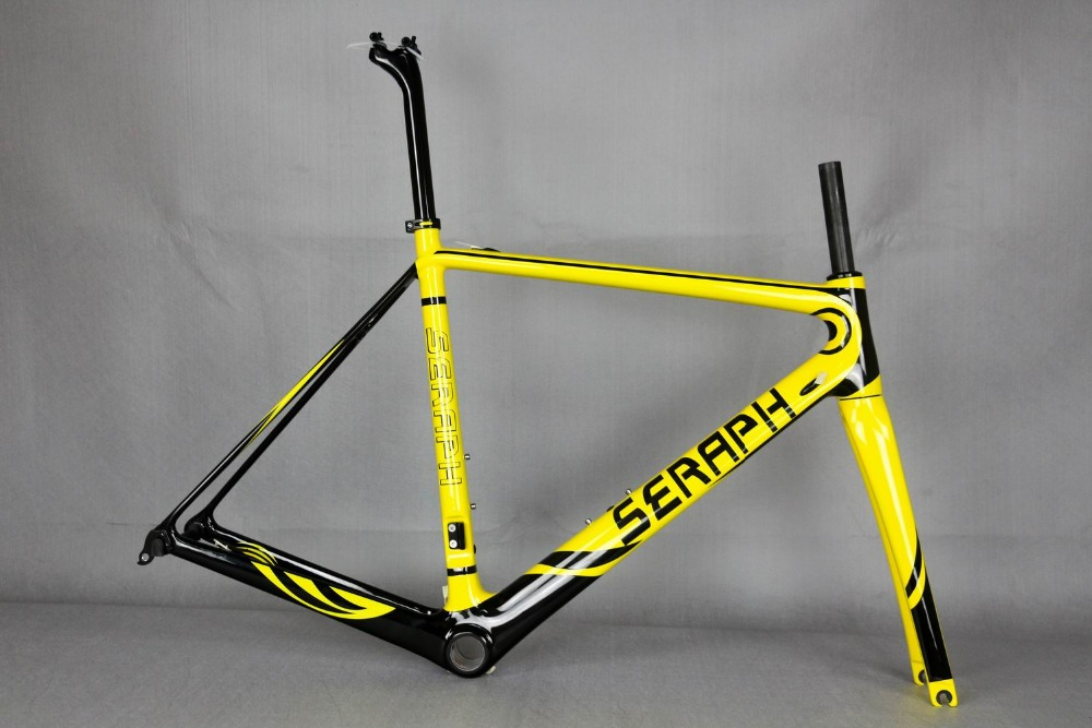 SERAPH custom painting Road Bicycle Carbon Frame&Fork Compatible Di2 UD Matt BSA OEM Carbon Bicycle Frameset custom painting road bicycle frameset carbon bike frame fork black matte finish bsa fm268 carbon frame accept painting