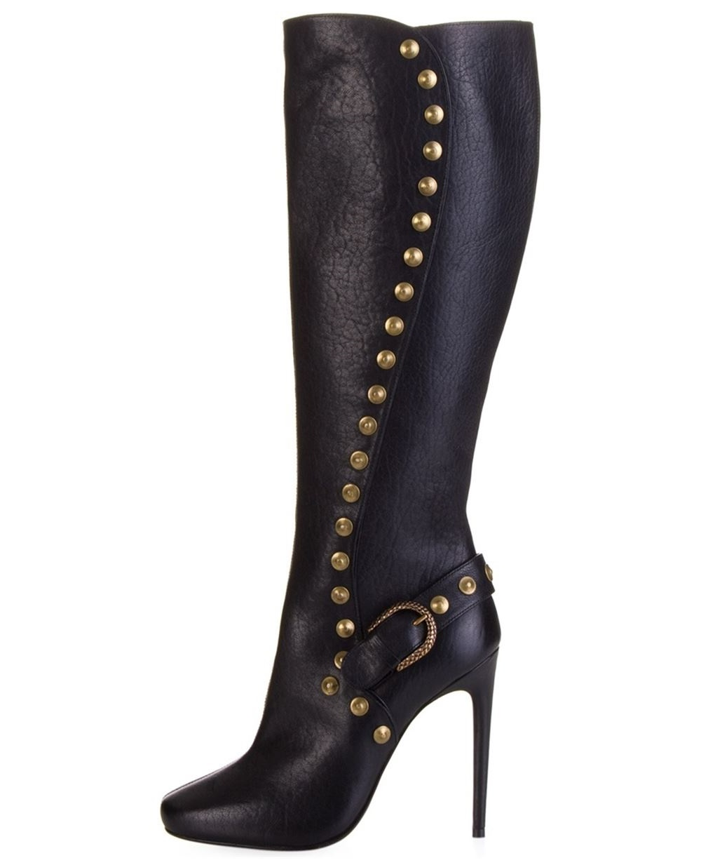 2016 stiletto Sky High heel women's winter boots zipper knee high boots With rivets and Buckle big size For Christmas