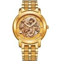 Relogio Masculino роскошные Для мужчин Сталь автоматические часы Мода Повседневное Для мужчин Золотые механические часы Классический Дракон Скеле