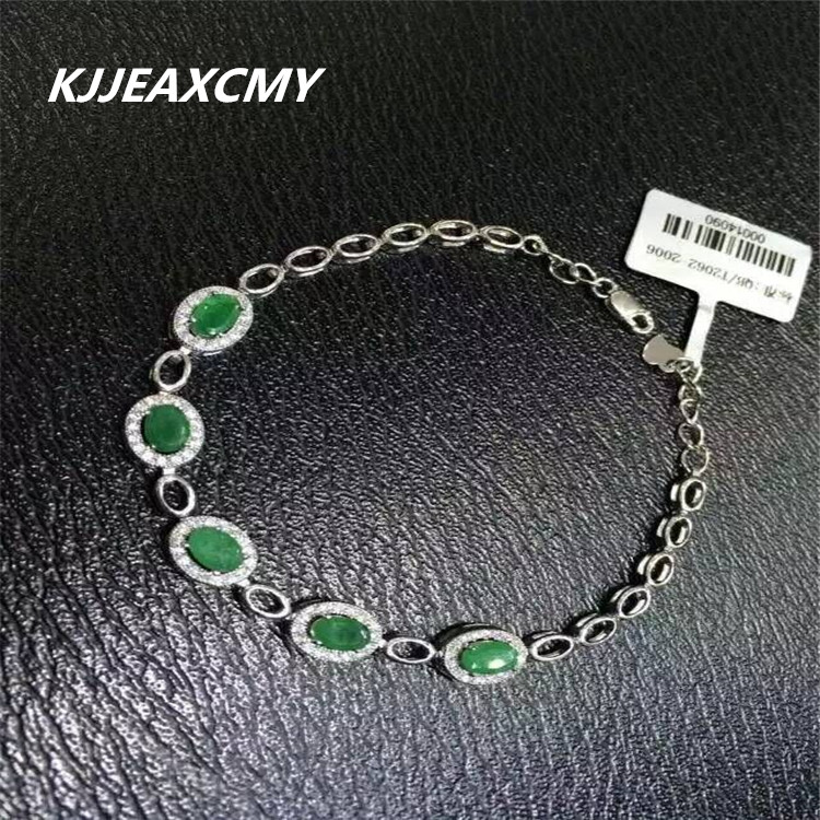 KJJEAXCMY Fine jewelry Natural emerald female Bracelet inlay jewelry S925 Sterling SilverKJJEAXCMY Fine jewelry Natural emerald female Bracelet inlay jewelry S925 Sterling Silver