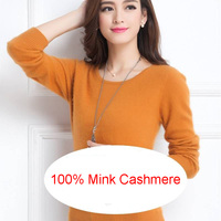 Women Sweater 100% Mink Cashmere Knitted Sweaters Winter O Neck Warm Sweaters Ladies Pullover Hot Sale mink Cashmere Clothes