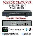 Макс 4 К Выход H.265 Многоязычная ВИДЕОНАБЛЮДЕНИЯ NVR 8-КАНАЛЬНЫЙ 4MP 4CH 5MP NVR Для H.265 H.264 Ip-камера ONVIF 2.0 Wifi RS485 PTZ Onvif P2P