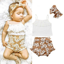 2019 Baby Girl summer clothing set Lace Tops Floral Shorts Headband Outfits Sunsuit for Kid clothes toddler Children newborn