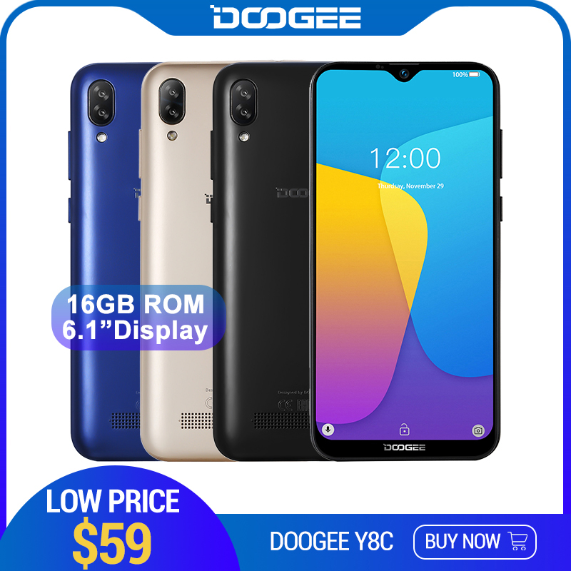 DOOGEE Y8c Android 8.1 6.1inch 19:9 Waterdrop LTPS Screen Smartphone MTK6580 1GB RAM 16GB ROM 3400mAh Dual SIM 8MP+5MP WCDMA