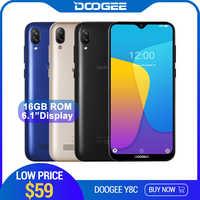 DOOGEE Y8c z systemem Android 8.1 6.1 cal 19:9 Waterdrop ekran LTPS smartfon MTK6580 1GB pamięci RAM, 16GB pamięci ROM 3400mAh dual SIM 8MP + 5MP WCDMA