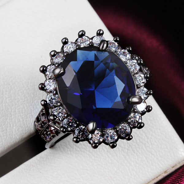 2016 black princess ring jewelry wholesale with large blue