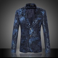 Mens Royal Blue Flower Blazer Slim Fitted Prom Blazers Men Two Button Suit Jacket Stage Costumes