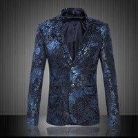 Mens Royal Blue Flower Blazer Slim Equipaggiata Prom Blazers Uomo due Jacket Button Abito Costumi di Scena Per Cantanti Affari Blazer uomini