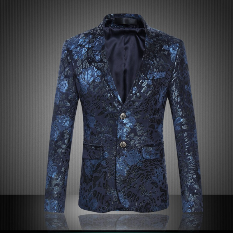 Mens Royal Blue Flower Blazer Slim Fitted Prom Blazers Men Two Button Suit Jacket Stage Costumes ...