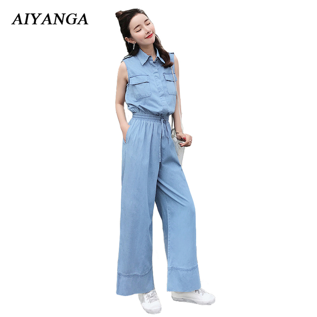 72b4f75cf0c New Women Denim Jumpsuits Female Sleeveless Jeans Rompers Wide Leg Trousers  Ankle-Length Pants Elastic Waist Casual Overalls