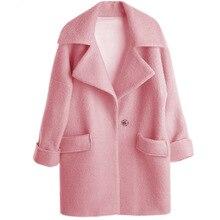 2016 European New Fashion Women s Medium long Wool Blend Coat Pink Big Size Loose Jacket