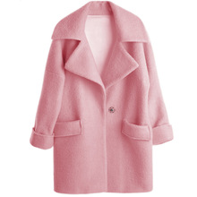 2016 European New Fashion Women's Medium-long Wool Blend Coat Pink Plus Size Loose Jacket Coat Turn-down Collar Female Overcoat