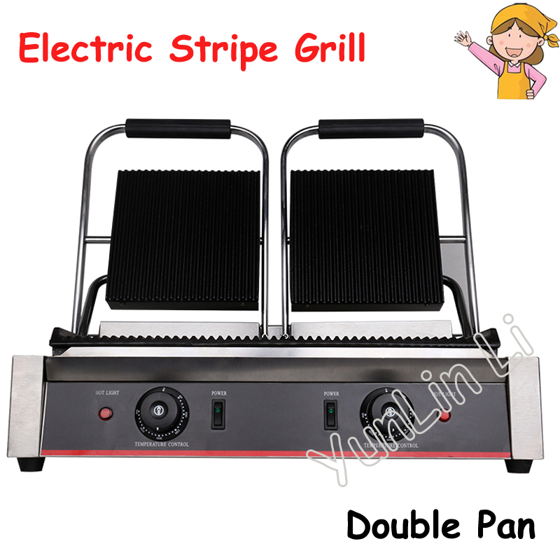 Non Stick Panini Press Plate Electric Griddle Grilling Pan Commercial Electric Sandwich Maker Double Head Strip Grill