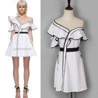 2017 del progettista di stile disegno irregolare increspato white dress cheap and chic donne dress