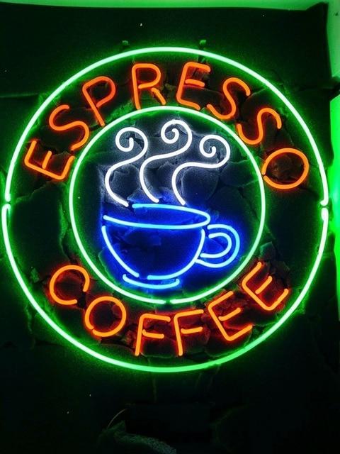 Espresso Coffee Glass Neon Light Sign Beer Bar