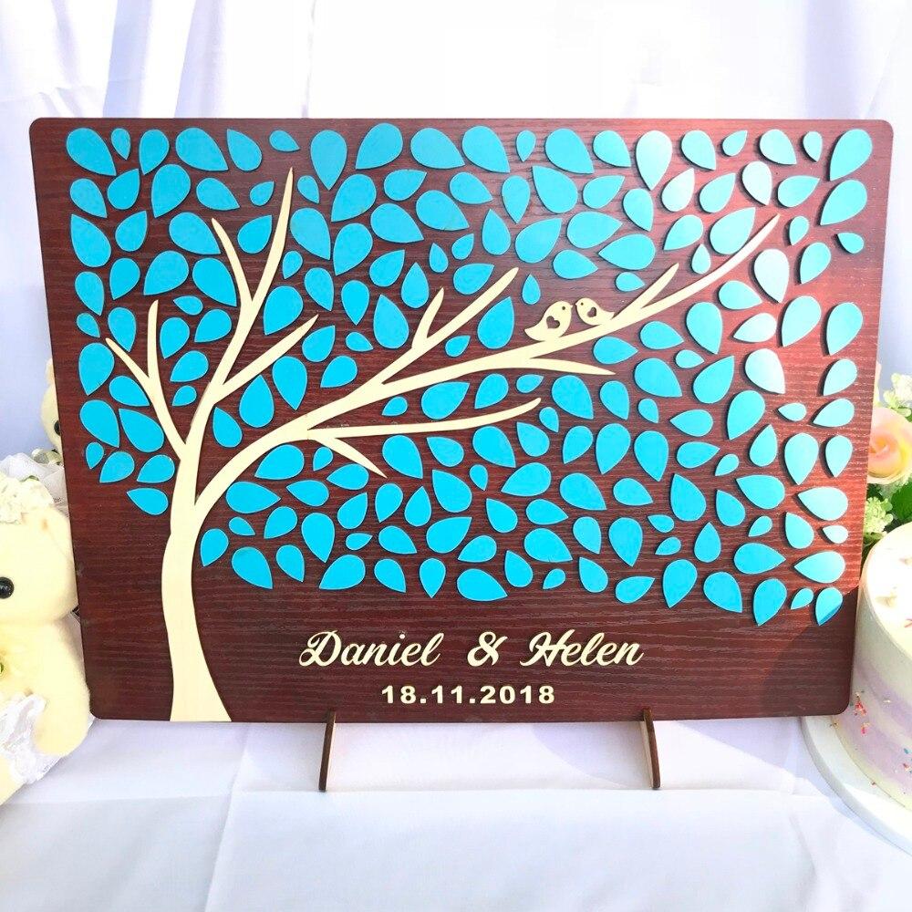 Livre d'invité de mariage personnalisé bois 3D, cadeaux de mariage pour les invités, idées de livre d'invité alternatives rustiques, arbre de livre d'invité personnalisé