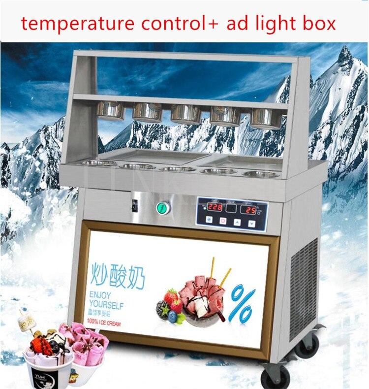 18 updated double pan Enrouleur Thai creme glacee helado R410 intelligent tava dondurma makinesi Maquina fried ice machine