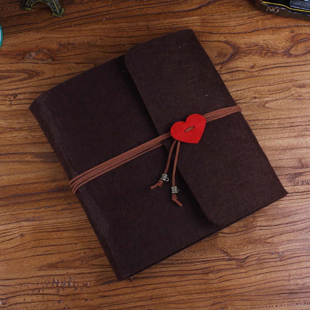 "Three Size 5"" 10"" 12""  Velvet Cover Heart Handmade DIY Wedding Vintage Photo Album"