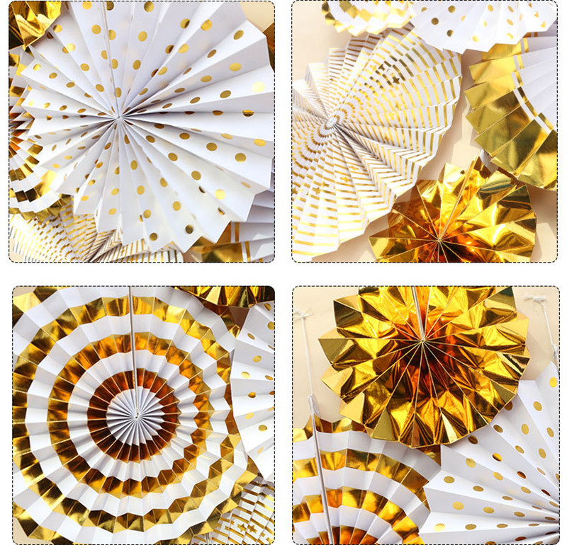 1 Pack 6pcs Pink Foil Gold Hanging Paper Fan Paper Rosettes Baby Shower 1st Birthday Party Wedding Tree Wall Backdrop Decoration in Party Backdrops from Home Garden