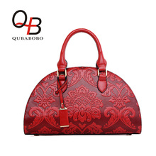 QUBABOBO Brand Embossed Women Shell Bag Chinese National Style Leather Handbag Shoulder Bags Ladies Red Top