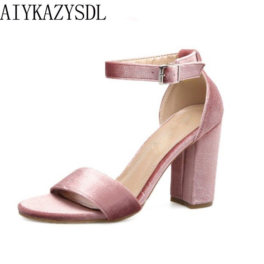 AIYKAZYSDL Women Pumps Sandals Velvet Shoes Ankle Strap Block Thick High Heel Wedding Bridal Dress Concise Shoes Woman Pump Pink