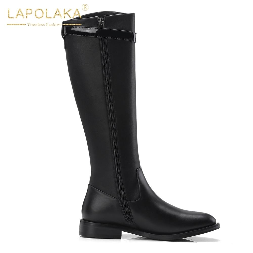 Femme Bottes Up Boot Chaude Mi Nouvelle Lapolaka Vente Zip Chaussures mollet En Marque Solide Vache Cuir Noir Véritable PqxHxTY
