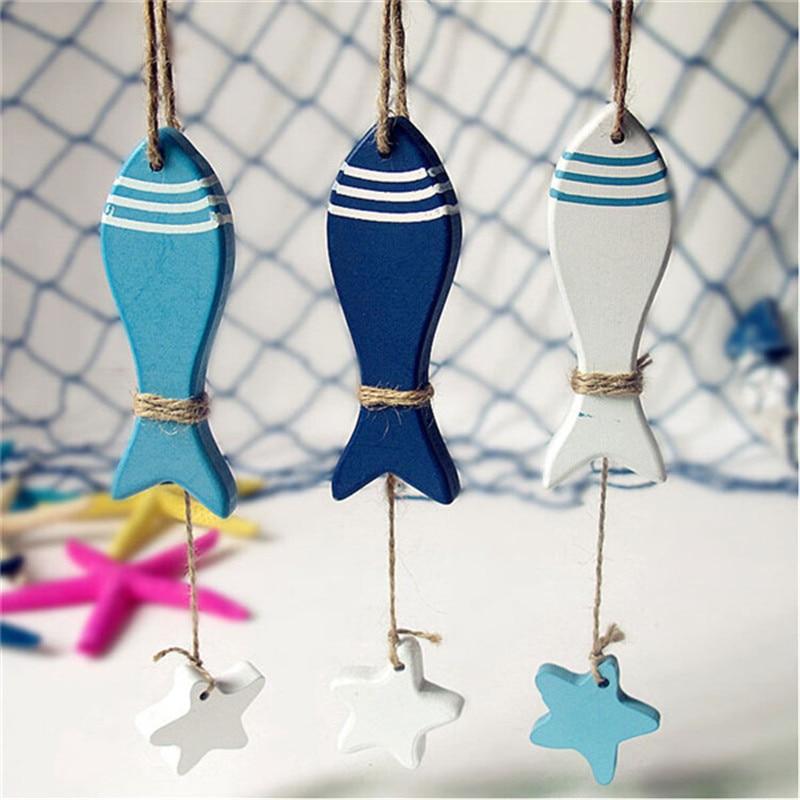 Mediterranean Starfish Fish Nautical Decor hang small adorn Crafts Wood Fish/decorated marine pendant Home Decoration PC877310