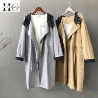 HEE GRAND Loose Coat Women 2018 Autumn Korean Long Sleeve Hooded Khaki Overcoats BF Windbreaker Belted T WWF911