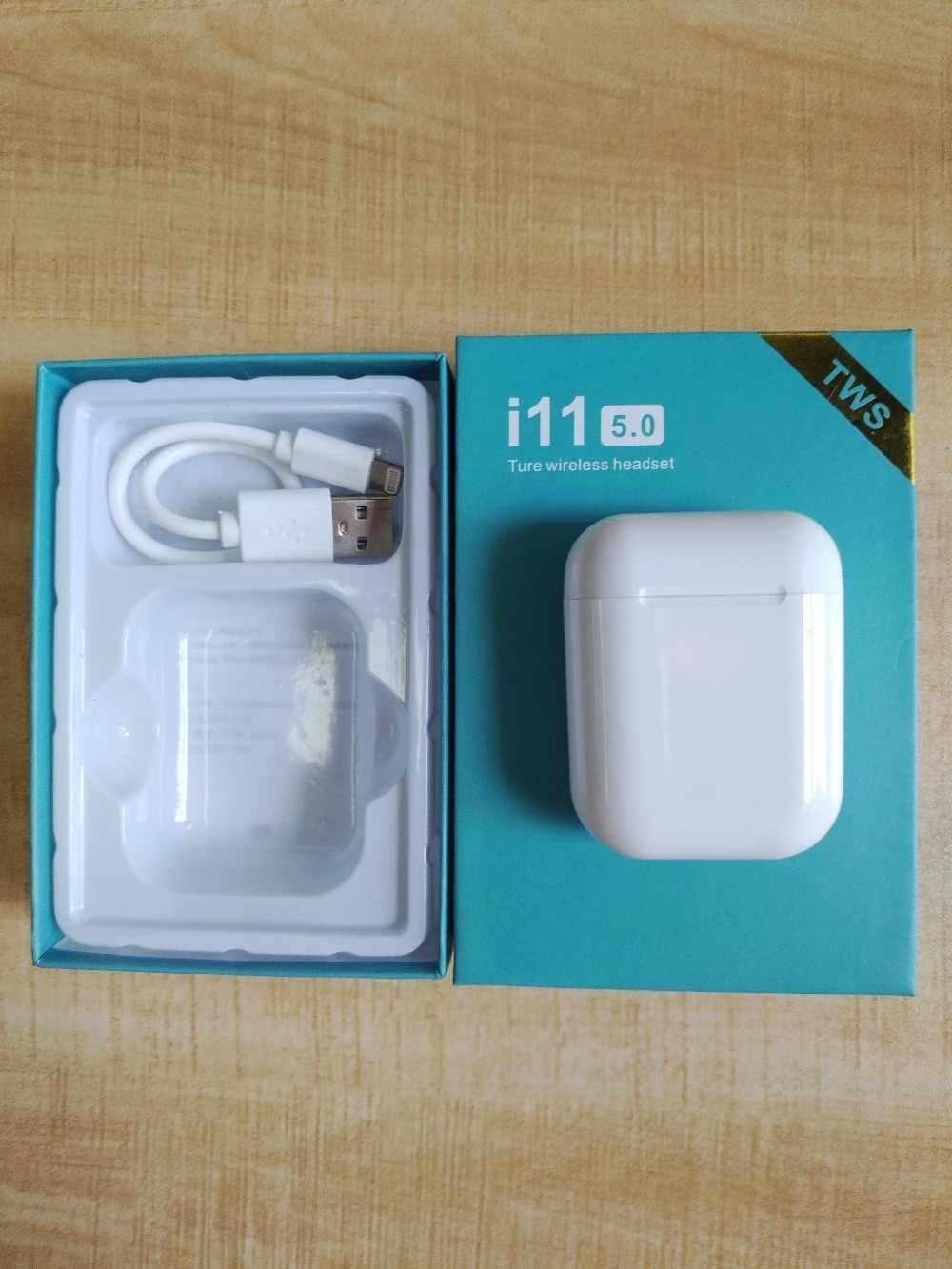 2019 najlepsza sprzedaż produktu i11 Tws słuchawki bezprzewodowe słuchawki Bluetooth 5.0 douszne sterowanie dotykowe mikrofon zestawu słuchawkowego dla wszystkich inteligentnych telefonów
