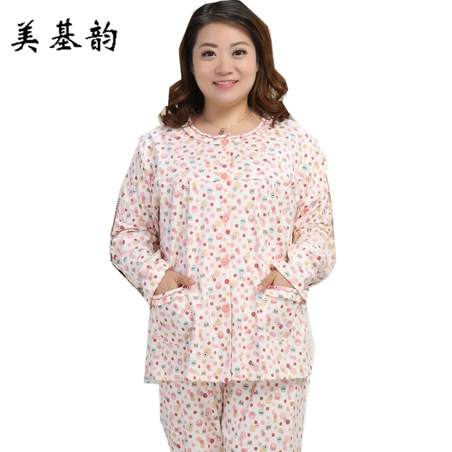 663ca4e321 Free Shipping High Quality Women Extra Large Size 100% Cotton Sleepwear set  Nightgown Elegant Noble Soft Fabric Pajamas 3XL-5XL