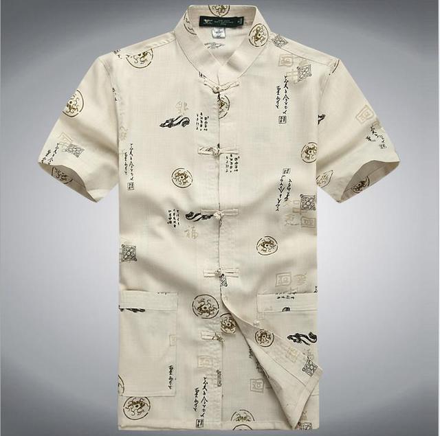 Verão Masculino Mandarim Colarinho da Camisa de Algodão Dos Homens Tradicionais Chineses Kung Fu Camisa de Manga Curta Roupas M L XL XXL XXXL MS063