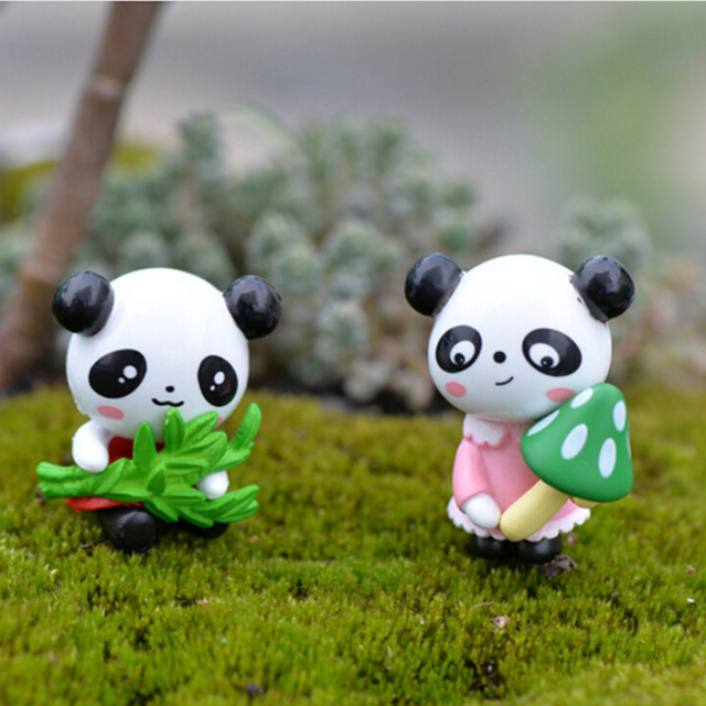 Cute 4 Pcs Cartoon Panda Doll PVC Crafts Garden Ornament Micro Landscape  Decoration Furnishing Articles Fairy