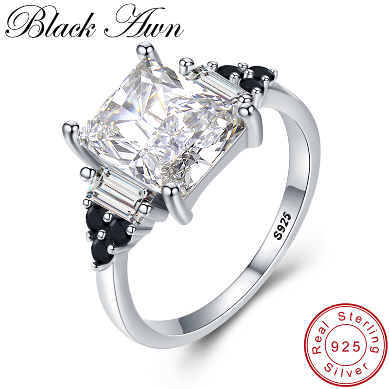 [BLACK AWN] 925 Sterling Silver Finger Ring Classic Engagement Rings for Women Female Bijoux Sterling Silver Jewelry G091[BLACK AWN] 925 Sterling Silver Finger Ring Classic Engagement Rings for Women Female Bijoux Sterling Silver Jewelry G091