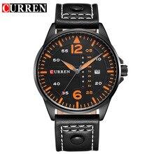 CURREN Marca de Lujo Relogio masculino Fecha Reloj de Cuero Casual Hombres Deportes Relojes de Cuarzo Militar Reloj de Pulsera de Reloj Masculino 8224