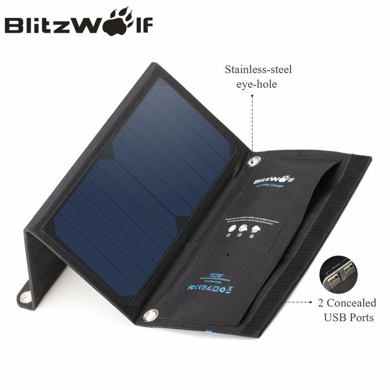 imágenes para BlitzWolf 15 W de Energía Solar Banco Portable USB Dual del Cargador Del Panel Solar Del Teléfono Móvil Cargador 2A Universal Para iPhone Para Samsung