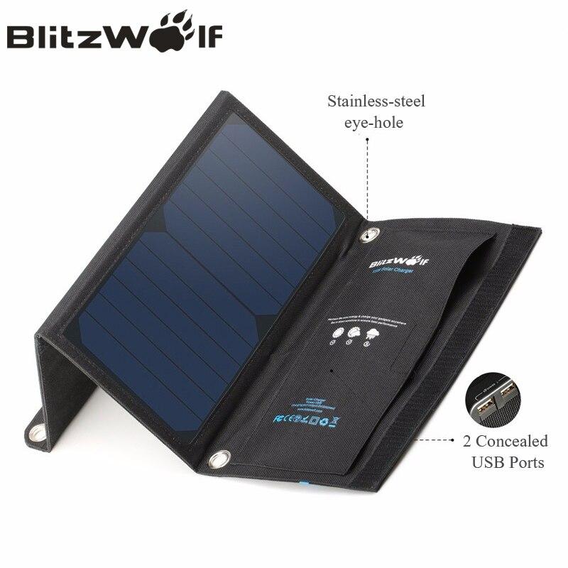 Цена за Blitzwolf 15 Вт Солнечный Мощность банк Портативный Dual USB Зарядное устройство солнечный Панель мобильного телефона Зарядное устройство 2A универсальный для Iphone для Samsung
