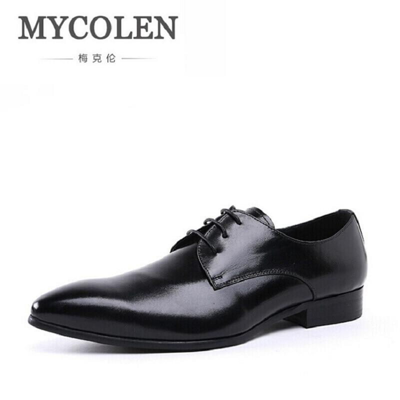 MYCOLEN Mens Pointed Toe Dress Shoes Business Leather Lace-Up Breathable Men Derby Shoes Business Autumn Male Shoes ayakkabi new arrival men casual business wedding formal dress genuine leather shoes pointed toe lace up derby shoe gentleman zapatos male