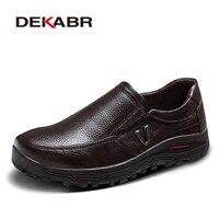 DEKABR Men's Genuine Leather Shoes Business Dress Moccasins Flats Slip On New Men's Casual Shoes Dress Mens Business Shoes 38-48