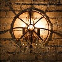 Vintage metallo industriale riparo Della Parete della lampada retrò rustico bar pub art deco lampada da parete di cristallo ruggine E14 della candela del mattone luce