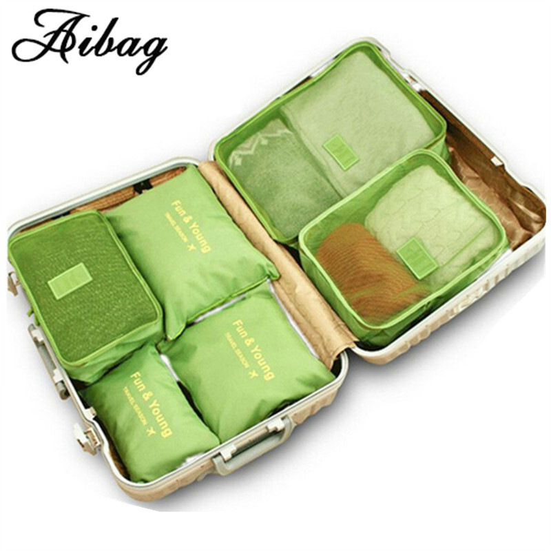 AIBAG 6pcs set Luggage bag high quality Double Zipper Waterproof Polyester Men and Women Travel classification Bags packing cube