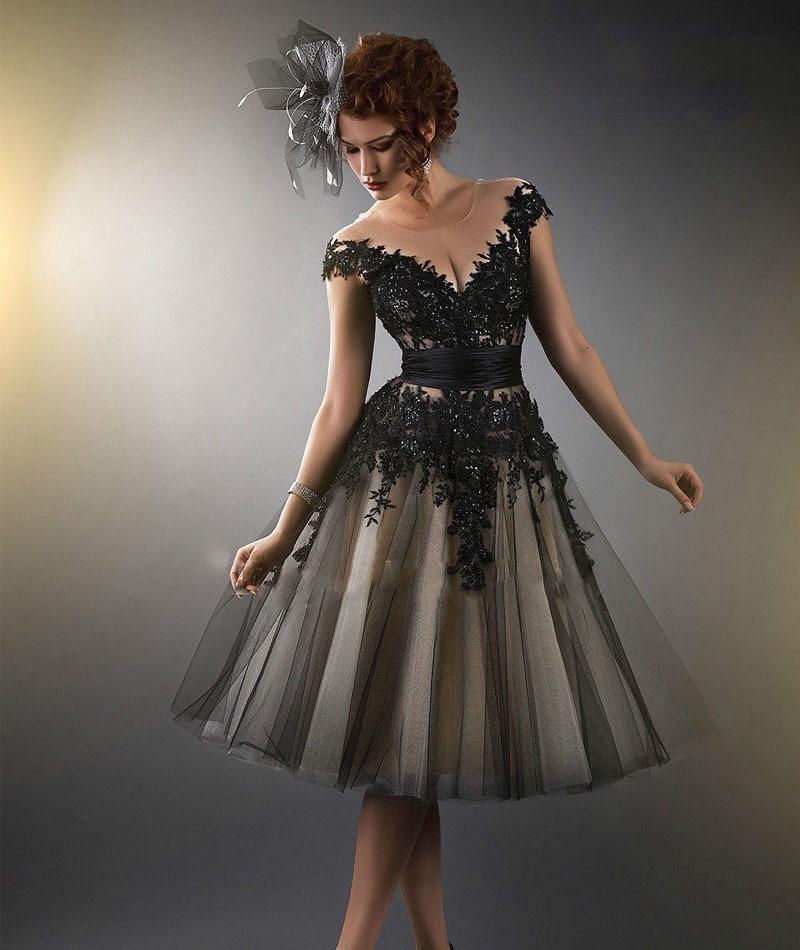Short Elegant Black Cocktail Dresses